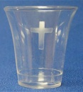 Communion Cup: Clear Plastic With Etched Cross