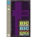 NIV Big Dreams, Big Prayers Bible for Kids--soft leather-look, purple with cross